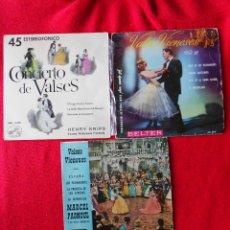 Discos de vinilo: LOTE 3 SINGLES VALSES (ORQUESTA VIENESA-HENRY KRIPPMARCEL PAGNOUL). Lote 92011190