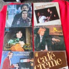Discos de vinilo: LOTE 6 SINGLES (SIMON & GARFUNKEL-CLIFF RICHARD-CAFE CREME-RICHARD CLAYDERMAN). Lote 92012505