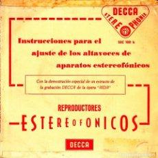 Discos de vinilo: BOB SHARPLES/HERBERT VON KARAJAN - AJUSTE DE ALTAVOCES ESTEREOFONICOS SINGLE SPAIN 1961. Lote 92013115