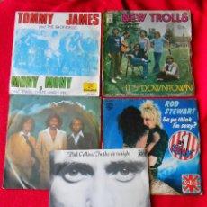 Discos de vinilo: LOTE 5 SINGLES (TOMMY JAMES/ROD STEWART/BEE GEES/ PHIL COLLINS/NEW TROLLS). Lote 92018335