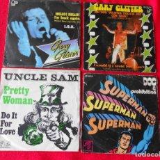 Discos de vinilo: LOTE 4 SINGLES (2 DE GARY GLITTER / UNCLE SAM / DOC & PROHIBITION). Lote 92018515