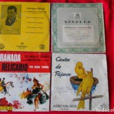 Discos de vinilo: LOTE 4 SINGLES (ENRIQUE ABAT/HNAS. FLAMARIQUE/ORQUESTA SINFONICA/CANTOS DE PAJAROS). Lote 92019410