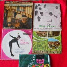 Discos de vinilo: LOTE 5 SINGLES (PERCUSION EN HI-FI/RAY MARTIN/MISA BANTU/HOMENAJE A GRECIA/A. KARAZOV). Lote 92020250