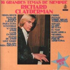 Discos de vinilo: RICHARD CLAYDERMAN - 16 GRANDES TEMAS DE SIEMPRE - LP DELPHINE RECORDS 1979 RF-3436, BUEN ESTADO. Lote 92095100