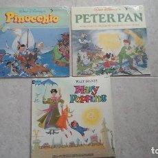 Discos de vinilo: LOTE DE 3 LPS DE WALT DISNEY - PINOCHO. MARY POPPINS . PETER PAN. Lote 92237830