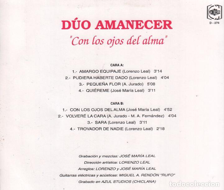Discos de vinilo: DUO AMANECER - CON LOS OJOS DEL ALMA , AMARGO EQUIPAJE LP DE 1992 RF-3499 - Foto 2 - 92667495