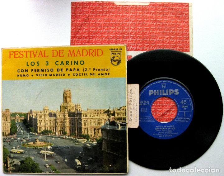 LOS 3 CARINO - FESTIVAL DE MADRID - CON PERMISO DE PAPA +3 - EP PHILIPS 1963 VG+ BPY (Música - Discos de Vinilo - EPs - Grupos Españoles 50 y 60)