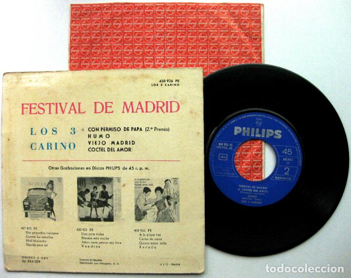 Discos de vinilo: Los 3 Carino - Festival De Madrid - Con Permiso De Papa +3 - EP Philips 1963 VG+ BPY - Foto 2 - 92688025