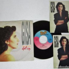 Discos de vinilo: GISA - GET UP + NEVER - SINGLE - TOP RECORDS 1988 ITLAY + 2 POSTALES - RARE. Lote 92929805