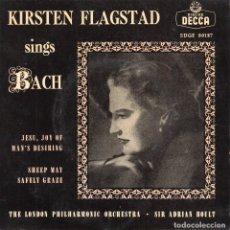 Discos de vinilo: KIRSTEN FLAGSTAD CANTANDO A BACH, EP, JESUS, GOZO Y DESEO DEL HOMBRE + , AÑO 1958. Lote 92936040