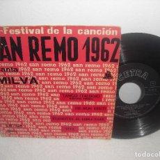 Discos de vinilo: XII FESTIVAL DE LA CANCION DE SAN REMO 1962 - TANGO ITALIANO + 3 / CETRA - AÑO 1962. Lote 93260470
