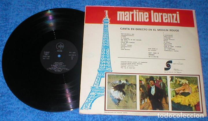 Discos de vinilo: MARTINE LORENZI SPAIN LP 1967 VEDETTE del Moulin Rouge CANTA EN DIRECTO DESDE MOULIN ROUGE Muy RARO - Foto 2 - 93269375