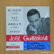 Discos de vinilo: JOSE GUARDIOLA - V FESTIVAL DE LA CANCION MEDITERRANEA - SE ALEJO + 3 - EP. Lote 93282357