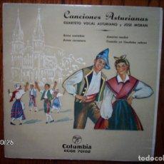 Discos de vinilo: CUARTETO VOCAL ASTURIANO Y JOSE MORAN - CANCIONES ASTURIANAS . Lote 93399175