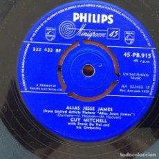 Discos de vinilo: GUY MITCHELL - ALIAS JESSE JAMES . SINGLE . 1958 UK. Lote 93403650