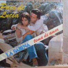 Discos de vinilo: PACO DE LUCIA -3 TEMAS DE LA BANDA SONORA LA SABINA-TEMA DE AMOR . Lote 93465525