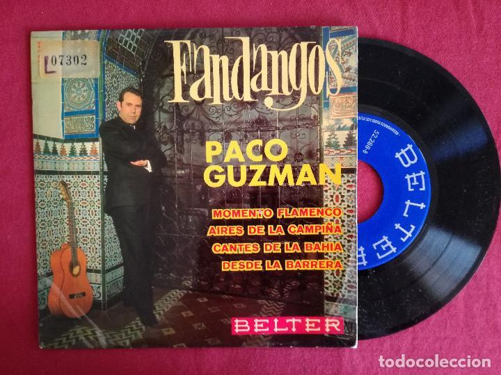PACO GUZMAN, FANDANGOS (BELTER) SINGLE EP - MOMENTO FLAMENCO + 3 (Música - Discos de Vinilo - EPs - Flamenco, Canción española y Cuplé)