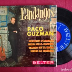 Discos de vinilo: PACO GUZMAN, FANDANGOS (BELTER) SINGLE EP - MOMENTO FLAMENCO + 3. Lote 93583170