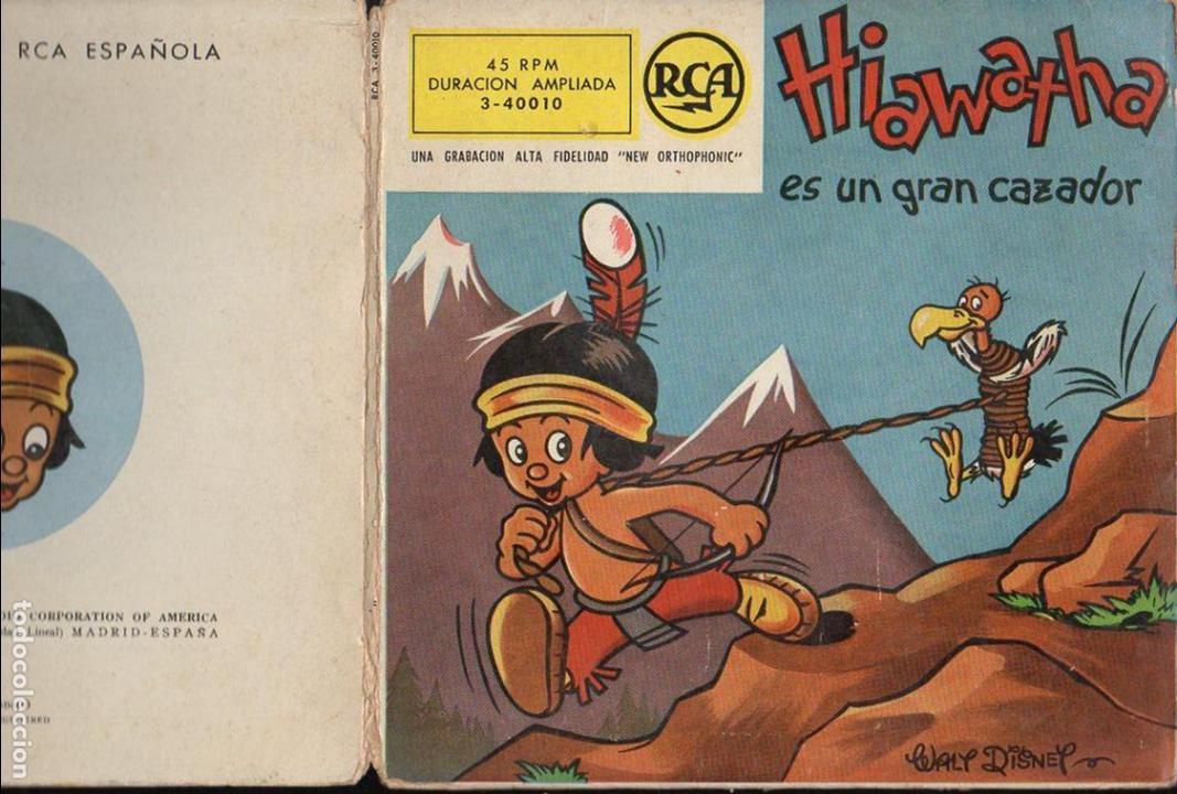WALT DISNEY : HIAWATHA ES UN GRAN CAZADOR (RCA, 1958) VINILO ROJO Y COMIC (Música - Discos de Vinilo - EPs - Música Infantil)