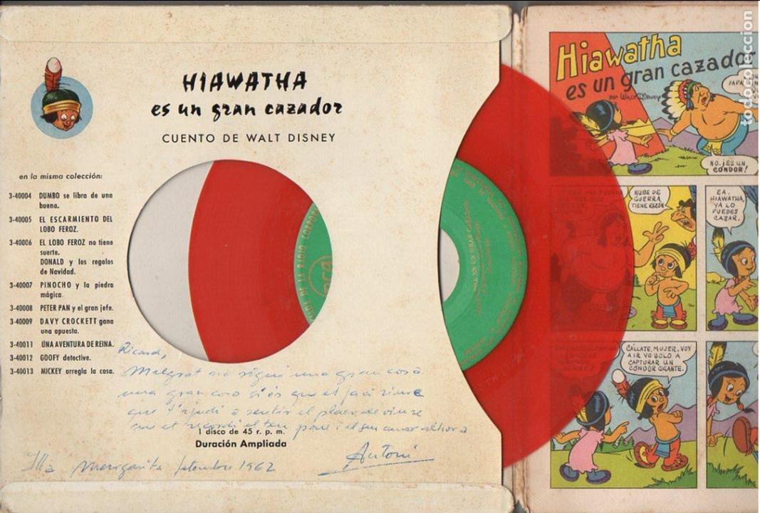 Discos de vinilo: WALT DISNEY : HIAWATHA ES UN GRAN CAZADOR (RCA, 1958) VINILO ROJO Y COMIC - Foto 2 - 93614080