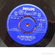 Discos de vinilo: GUY MITCHELL - MY HEART CRIES FOR YOU / TILL WE'RE ENGAGED . SINGLE . 1958 UK. Lote 93761215
