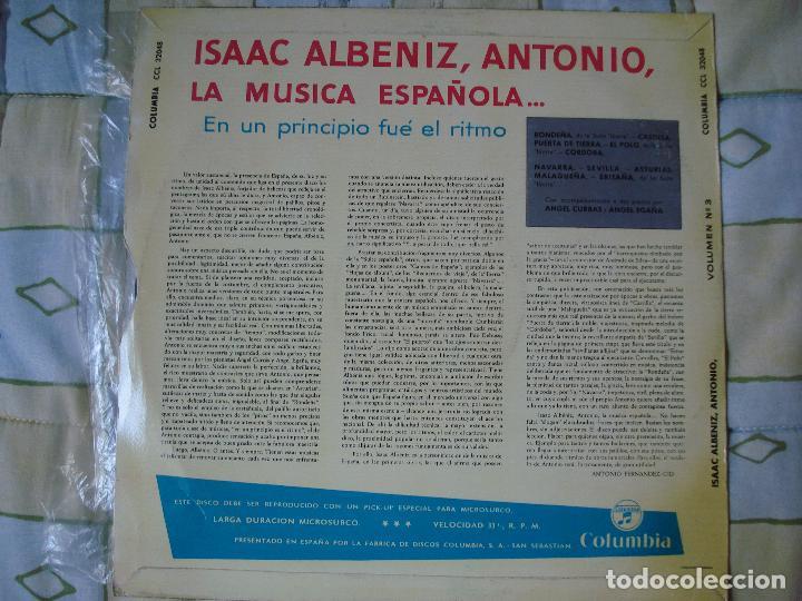 Discos de vinilo: ISAAC ALBENIZ , ANTONIO LA MUSICA ESPAÑOLA , COLUMBIA 1961 - Foto 4 - 93822225