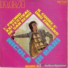 Discos de vinilo: NICOLA DI BARI: IL CUORE E'UNO ZINGARO / AGNESE - 1º PREMIO XXI FESTIVAL DE SAN REMO -(SG 45R). Lote 93869670