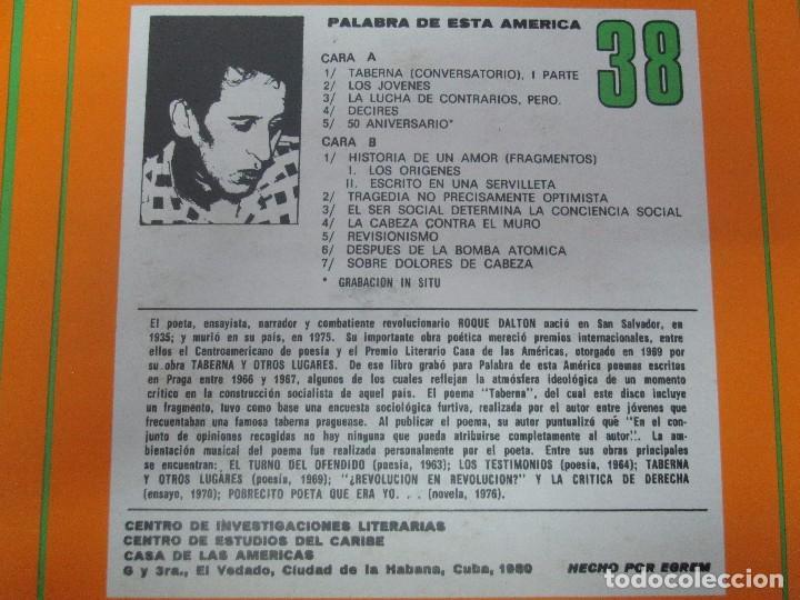 Discos de vinilo: ROQUE DALTON. POESIA. PALABRA DE ESTA AMERICA. CASA DE LAS AMERICAS. 1980. DISCO DE VINILO - Foto 4 - 172253385