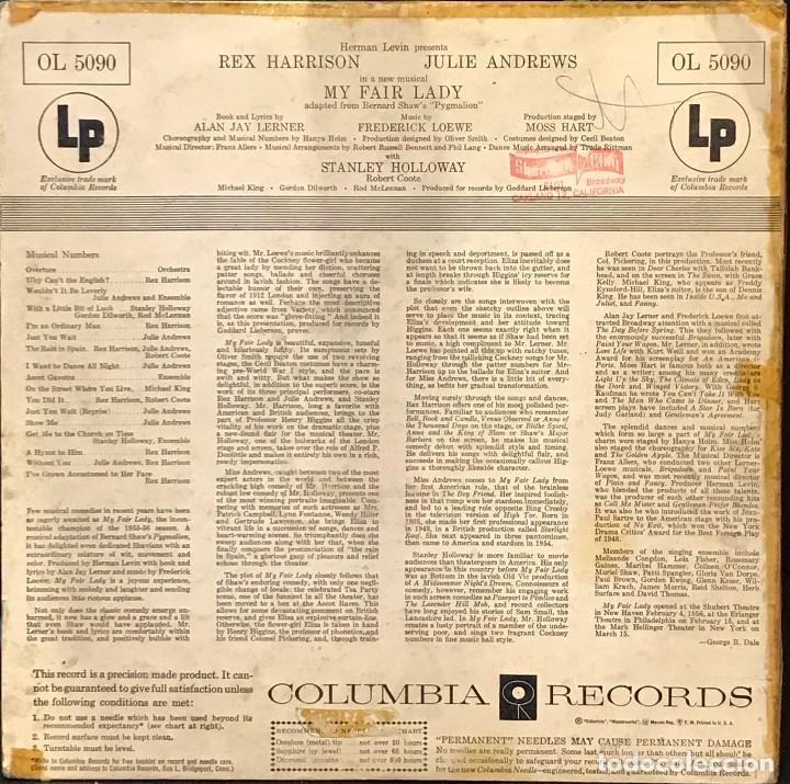 Discos de vinilo: LP estadounidense My fair lady año 1956 versión teatral - Foto 2 - 94189790