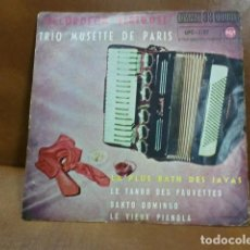Discos de vinilo: DISCO DE VINILO ACCORDEON VIRTUOSE TRIO MUSETTE DE PARIS.-4 MELODIAS AÑO 1962. Lote 94192220