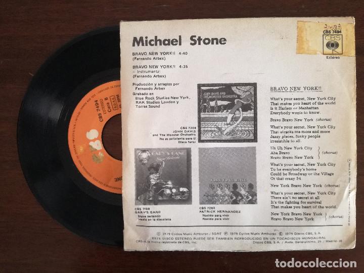 Discos de vinilo: MICHAEL STONE, BRAVO NEW YORK (CBS) SINGLE ESPAÑA - FERNANDO ARBEX - Foto 2 - 94293670