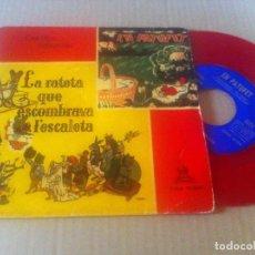 Discos de vinilo: CUENTOS INFANTILES ODEON AÑO 1958 VINILO ROJO EN PATUFET, LA RATETA. Lote 94396122