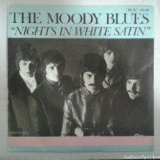 Discos de vinilo: THE MOODY BLUES. NIGHTS IN WHITE SATIN. SINGLE VERSIÓN FRANCESA. DERAN 1967. RARA PORTADA.. Lote 94424603