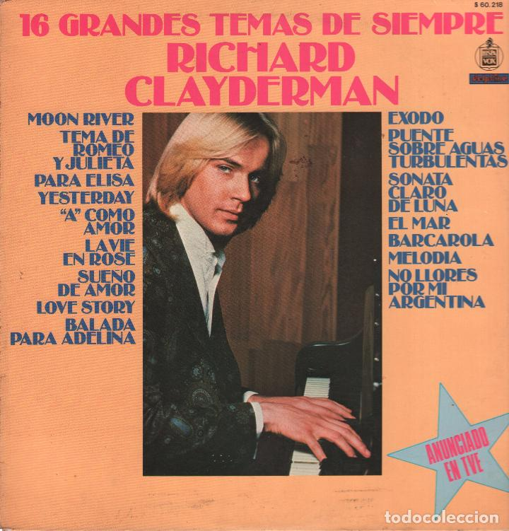 RICHARD CLAYDERMAN - 16 GRANDES TEMAS DE SIEMPRE - LP DELPHINE RECORDS 1979 RF-3616 (Música - Discos - LP Vinilo - Clásica, Ópera, Zarzuela y Marchas)