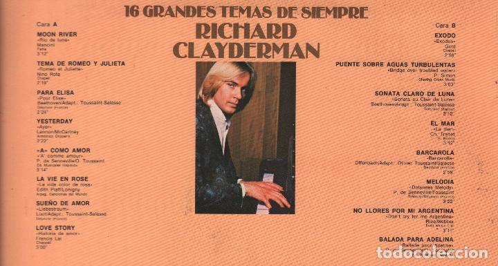 Discos de vinilo: RICHARD CLAYDERMAN - 16 GRANDES TEMAS DE SIEMPRE - LP DELPHINE RECORDS 1979 RF-3616 - Foto 2 - 94547159