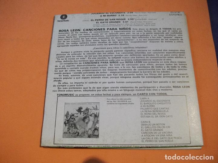 Discos de vinilo: ROSA LEON (2 EP) CANCIONES PARA NIÑOS.Nº 1&2 EPS 1987 PDELUXE - Foto 3 - 57416379