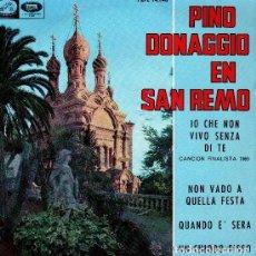 Discos de vinilo: PINO DONAGGIO EN SAN REMO IO CHE NON VIVO SENZA DI TE - EP EMI SPAIN 1965 - (SOLO PORTADA). Lote 94804079