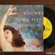 Disques de vinyle: ROCIO JURADO Y JOSE LUIS RODRIGUEZ EL PUMA, AMIGO AMOR (CBS) SINGLE PROMOCIONAL. Lote 94949011