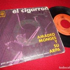 Discos de vinilo: AMADEO MONGES ARPA EL CIGARRON/PIM PUM/DULCE DE LECHE/BAION BOSSA NOVA EP 1963 CBS ESPAÑA SPAIN. Lote 95097967