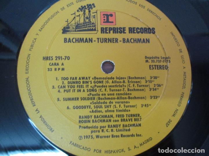 Discos de vinilo: R. BACHMAN - F. TURNER - R. BACHMAN. AS BRAVE BELT. REPRISE ALBUM. LP VINILO. HISPAVOX 1975 - Foto 4 - 95101095