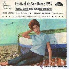 Discos de vinilo: FESTIVAL DE SAN REMO 1962 ADDIO ADDIO - EP SPAIN. Lote 95106411