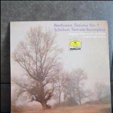 Discos de vinilo: BEETHOVEN SINFONIA 5 SCHUBERT SINFONIA INCOMPLETA ORQUESTA FILARMONICA DE BERLIN LORIN MAAZEL. Lote 95289399