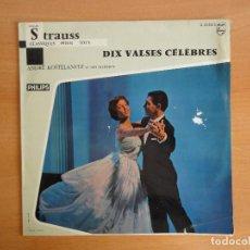 Discos de vinilo: LP VINILO. ANDRE KOSTELANETZ. CLASSIQUES POUR TOUS. DIX VALSES CELEBRES (PHILIPS 1959?) RARO!. Lote 95330251