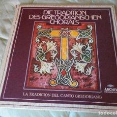 Discos de vinilo: DIE TRADITION DES GREGORIANISCHEN CHORALS. LA TRADICION DEL CANTO GREGORIANO. CAJA CON 6 LP'S. 1400 . Lote 95371319