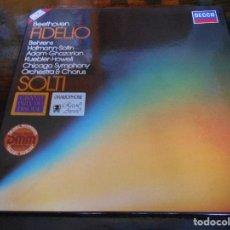 Discos de vinilo: FIDELIO. BEETHOVEN. DECCA. CAJA CON 3 LP'S. 770 GRAMOS.. Lote 95425031