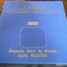 Discos de vinilo: CANTATAS DE NAVIDAD. J. S. BACH. ARCHIV. CAJA CON 6 LP'S. 1500 GRAMOS.. Lote 95425675