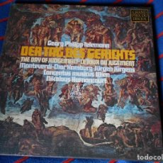 Discos de vinilo: GEORG PHILIPP TELEMANN. DER TAG DES GERICHTS. THE DAY OF JUDGEMENT. LE JOUR DE JUGEMENT. TELEFUNKEN.. Lote 95449879