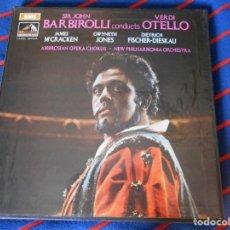 Discos de vinilo: OTELLO. VERDI. SIR JOHN BARBIROLLI CONDCTS OTELLO. EMI. CAJA CON 3 LP'S. 1090 GRAMOS.. Lote 95450135
