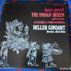 Discos de vinilo: THE INDIAN QUEEN. OPERA EN 5 ACTES. LE MASQUE DE TIMON D'ATHENES. DELLER CONSORT. HENRY PURCELL. HAR. Lote 95450651