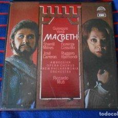 Discos de vinilo: MACBETH. GIUSEPPE VERDI. RICARDO MUTI. EMI. CAJA CON 3 LP'S. 820 GRAMOS.. Lote 95452279